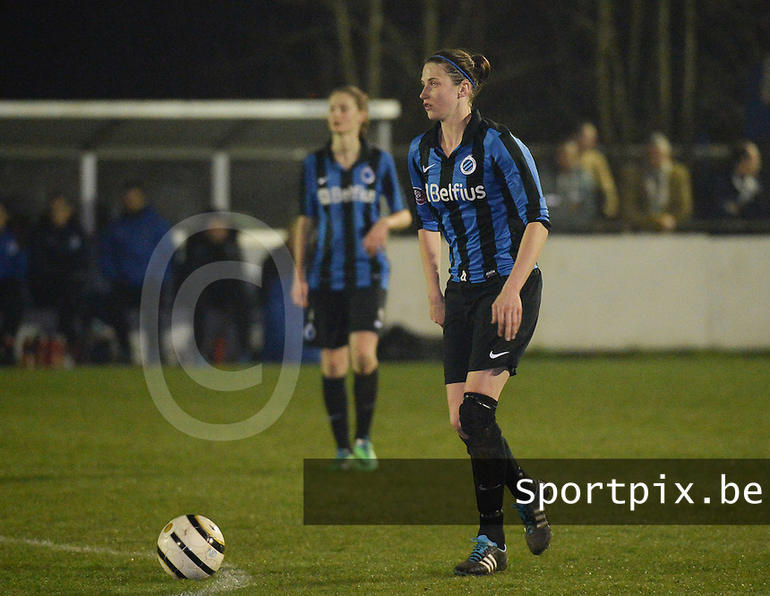 20140326 - AALTER , BELGIUM : Brugge's Heleen Jaques pictured during the soccer match between the women teams of Club Brugge Vrouwen  and AA Gent  Ladies , on the 21th matchday of the BeNeleague competition Friday 14 March 2014 in Aalter. PHOTO DAVID CATRY