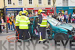 RESCUE: The accident and rescue simulation organized by member's of the KDYS My Project road safety and drug awareness and the Tralee community policing uint at the Square, Tralee on Saturday.