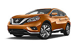 Stock pictures of low aggressive front three quarter view of a 2015 Nissan Murano Platinum 5 Door SUV Low Aggressive