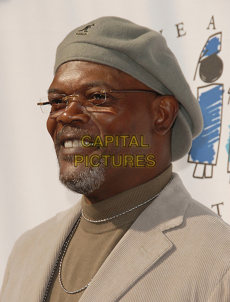 SAMUEL L. JACKSON.The 8th Annual Gospel Brunch hosted by I have a Dream Foundation held at HOB Sunset in West Hollywood, California, USA>.January 29th, 2006.Ref: DVS.headshot portrait hat kangol glasses goatee facial hair.www.capitalpictures.com.sales@capitalpictures.com.Supplied By Capital PIctures