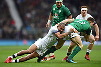Jonathan Joseph of England tackles Garry Ringrose of Ireland. Natwest 6 Nations match between England and Ireland on March 17, 2018 at Twickenham Stadium in London, England. Photo by: Patrick Khachfe / Onside Images