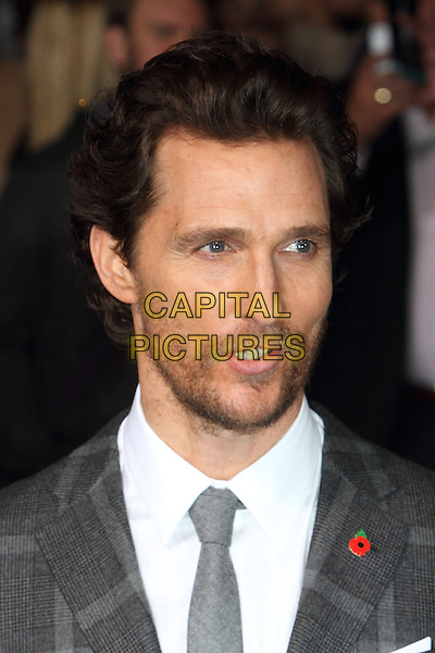 LONDON, ENGLAND - OCTOBER 29: Matthew McConaughey attends the &quot;Interstellar&quot; European film premiere, Odeon Leicester Square, on Wednesday October 29, 2014 in London, England, UK. <br /> CAP/ROS<br /> &copy;Steve Ross/Capital Pictures