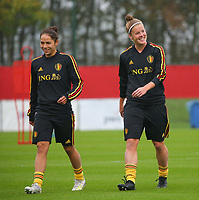 20191006 TUBIZE: Red Flames' Lola Wajnblum (left) and Laura Deloose (right) are pictured at the Open Training of Red Flames on Sunday 6th of October 2019, Tubize, Belgium  PHOTO SPORTPIX.BE | SEVIL OKTEM