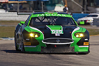The #99 Jaguar of Bruno Junquiera, Chrisyiano Da Matta and Oriol Servia the 12 Hours of Sebring, Sebring International Raceway, Sebring, FL, March 18, 2011.  (Photo by Brian Cleary/www.bcpix.com)