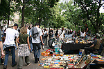 The alternative crowd flocks to a weekend Fleamarket at Boxhagener Platz in Friedrichshain , Berlin, Germany