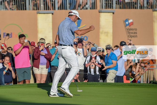 Corey Conners (CAN) reacts to sinking his par putt and winning the Valero Texas Open, at the TPC San Antonio Oaks Course, San Antonio, Texas, USA. 4/7/2019.<br /> Picture: Golffile | Ken Murray<br /> <br /> <br /> All photo usage must carry mandatory copyright credit (© Golffile | Ken Murray)