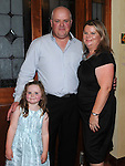 Anthony Kavanagh celebrating his 40th birthday with wife Lorraine and daughter Sophie in The Bellewstown Inn. Photo: Colin Bell/pressphotos.ie