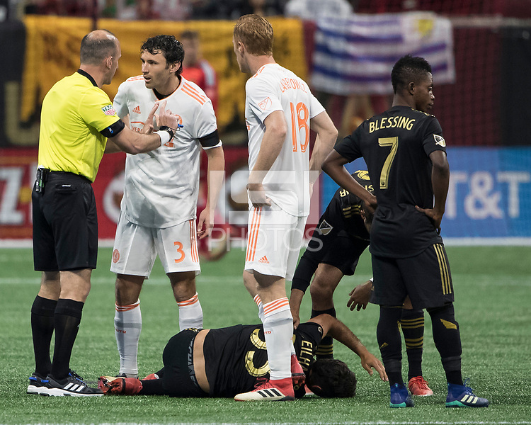 Atlanta, Georgia - April 7, 2018: Atlanta United FC vs Los Angeles FC at Mercedes-Benz Stadium.  Final score Atlanta United 5, Los Angeles FC 0.