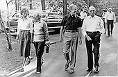 United States President Jimmy Carter, second right, Prime Minister Menachem Begin of Israel, right, first lady Rosalynn Carter, left, and  President Anwar al-Sadat of Egypt, right, and Aliza Begin, wife of the Prime Minister, left center, stroll the grounds of Camp David, the U.S. presidential retreat near Thurmont, Maryland on September 6, 1978.  Later in the day the President and the Prime Minister were joined by President Anwar Sadat of Egypt (not pictured) for the first day of the Egypt-Israel Summit..Credit: White House via CNP