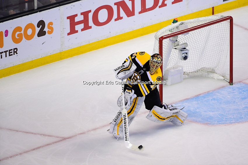 April 21, 2018: Boston Bruins goaltender Tuukka Rask (40) bats the puck to the boards during game five of the first round of the National Hockey League's Eastern Conference Stanley Cup playoffs between the Toronto Maple Leafs and the Boston Bruins held at TD Garden, in Boston, Mass. Toronto defeats Boston 4-3, Boston leads Toronto 3 games to 2 in the best of 7 series.