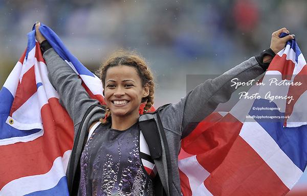 Jazmin Sawyers (Stoke) celebrates with the Union flag after winning the womens long jump. British Athletics Championships. Alexander Stadium. Birmingham. UK. 26/06/2016. ~ MANDATORY CREDIT Garry Bowden/SIPPA - NO UNAUTHORISED USE - +447837 394578