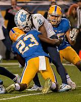 Pitt linebacker Oluwaseun Idowu (23) makes a tackle. The North Carolina Tarheels defeated the Pitt Panthers football team 34-31 at Heinz Field, Pittsburgh, Pennsylvania on November 9, 2017.