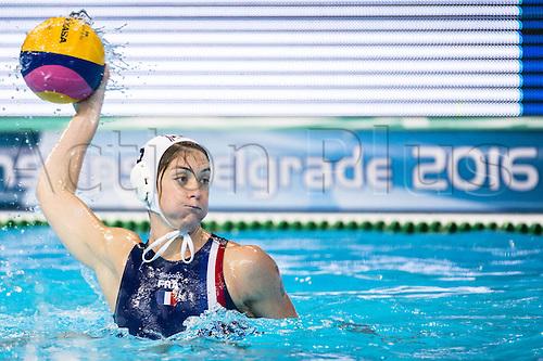 21-01-2016. Kombank Arena, Belgrade, Serbia. LEN European Water polo Championships. 5 GUILLET Louise FRA France (white) vs Greece (blue)