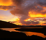 Sunset over Crowley Lake near Mammoth Lakes, Eastern Sierra, California