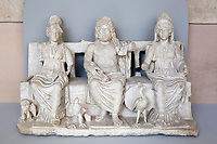 Statue, Capitoline Triad, II-IIICentury AC, taken in 1992 during illegal excavations and rescued in Livigno, Italy,  in 1994<br /> Rome May 3rd 2019. Quirinale Palace. Preview of the exhibition 'The art of rescuing art' , a collection of antique artworks, paintings, statues, jewelry and terracotta artefacts rescued from the command of Carabinieri for the protection of the cultural heritage in 50 years.  Many of these artworks were stolen on commission for private collections.<br /> Photo di Samantha Zucchi/Insidefoto