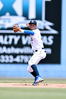 Asheville Tourists shortstop Carlos Herrera (2) throws to first base during a game against the Rome Braves at McCormick Field on June 11, 2017 in Asheville, North Carolina. The Braves defeated the Tourists 3-1. (Tony Farlow/Four Seam Images)