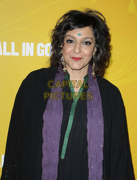 Meera Syal.The 'All In Good Time' gala screening, BFI Southbank, Belvedere Rd., London, England..May 8th, 2012.half length black dress purple scarf bindi .CAP/CAN.©Can Nguyen/Capital Pictures.
