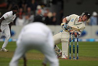 Jimmy Nesham dodges a bouncer during day one of the 2nd cricket test match between the New Zealand Black Caps and Sri Lanka at the Hawkins Basin Reserve, Wellington, New Zealand on Saturday, 3 February 2015. Photo: Dave Lintott / lintottphoto.co.nz