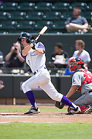 Toby Thomas (17) of the Winston-Salem Dash follows through on his swing against the Salem Red Sox at BB&T Ballpark on May 31, 2015 in Winston-Salem, North Carolina.  The Red Sox defeated the Dash 6-5.  (Brian Westerholt/Four Seam Images)
