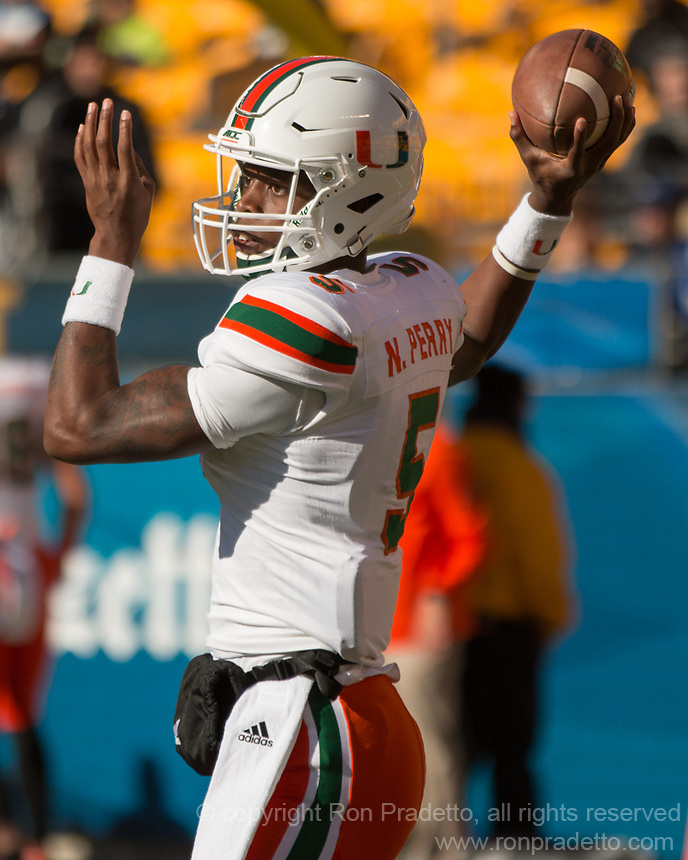 Miami Hurricanes quarterback N'Kosi Perry. The Pitt Panthers upset the undefeated Miami Hurricanes 24-14 on November 24, 2017 at Heinz Field, Pittsburgh, Pennsylvania.