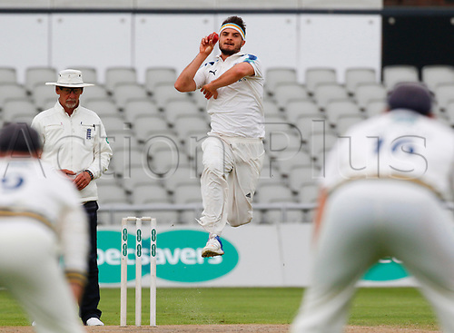 May 21st 2017, Emirates Old Trafford, Manchester, England; Specsavers County Championship Division One; Day Three; Lancashire versus Yorkshire; Jack Brooks of Yorkshire bowls during the Lancashire first innings
