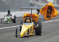 Feb 10, 2017; Pomona, CA, USA; NHRA top dragster driver Mike Coughlin during qualifying for the Winternationals at Auto Club Raceway at Pomona. Mandatory Credit: Mark J. Rebilas-USA TODAY Sports