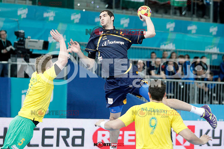 Spain's Angel Montoro Cabello (c) and Australia's Tommy Fletcher (l) and Martin Najdovski during 23rd Men's Handball World Championship preliminary round match.January 15,2013. (ALTERPHOTOS/Acero) /NortePhoto