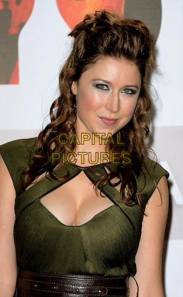 Hayley Westenra.The Classic Brit Awards 2012, The Royal Albert Hall, London, England..2nd October 2012.half length dress brown belt gold green cut out away cleavage .CAP/WIZ.© Wizard/Capital Pictures.