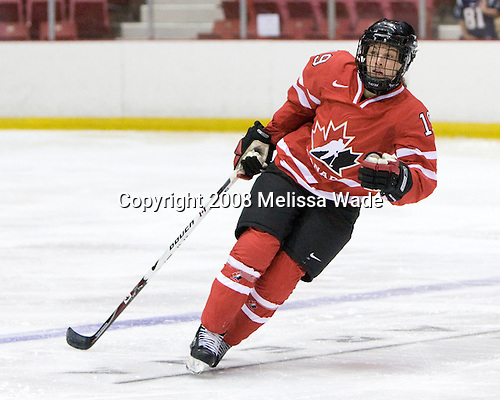 Rebecca Johnston (Canada - 19) - Team USA defeated Team Canada 4-3 (so) to win the 2008 Four Nations Cup on Sunday, November 9, 2008, in the 1980 Rink in Lake Placid, New York.