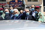 Palestinian President Mahmoud Abbas, takes part in an inspection tour of the West Bank city of Ramallah on June 15, 2020. Photo by Thaer Ganaim