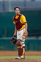Garrett Stubbs #51 of the USC Trojans during a inter squad game at Dedeaux Field on November 16, 2012 in Los Angeles, California. (Larry Goren/Four Seam Images)