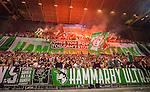 Stockholm 2015-08-24 Fotboll Allsvenskan Djurg&aring;rdens IF - Hammarby IF :  <br /> Hammarbys supportrar med banderoll och flagga eldar med bengaler under matchen mellan Djurg&aring;rdens IF och Hammarby IF <br /> (Foto: Kenta J&ouml;nsson) Nyckelord:  Fotboll Allsvenskan Djurg&aring;rden DIF Tele2 Arena Hammarby HIF Bajen supporter fans publik supporters r&ouml;k bengal bengaler