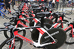 Team Sunweb Cervelo bikes lined up outside the team bus before Stage 1 of the 2019 Giro d'Italia, an individual time trial running 8km from Bologna to the Sanctuary of San Luca, Bologna, Italy. 11th May 2019.<br /> Picture: Eoin Clarke | Cyclefile<br /> <br /> All photos usage must carry mandatory copyright credit (© Cyclefile | Eoin Clarke)