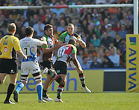 London, England. Mike Brown of Harlequins wins a high ball during the Aviva Premiership match between Harlequins and Bath Rugby at Twickenham Stoop on March 24, 2012 in Twickenham, England.