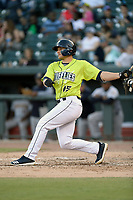Catcher Hayden Senger (15) of the Columbia Fireflies bats in a game against the Charleston RiverDogs on Saturday, April 6, 2019, at Segra Park in Columbia, South Carolina. Columbia won, 3-2. (Tom Priddy/Four Seam Images)