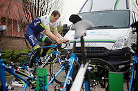 Mathew Hayman (AUS/Orica-GreenEDGE) on the rollers 1 day ahead of raceday, putting in an extra effort <br /> <br /> 106th Milano - San Remo 2015