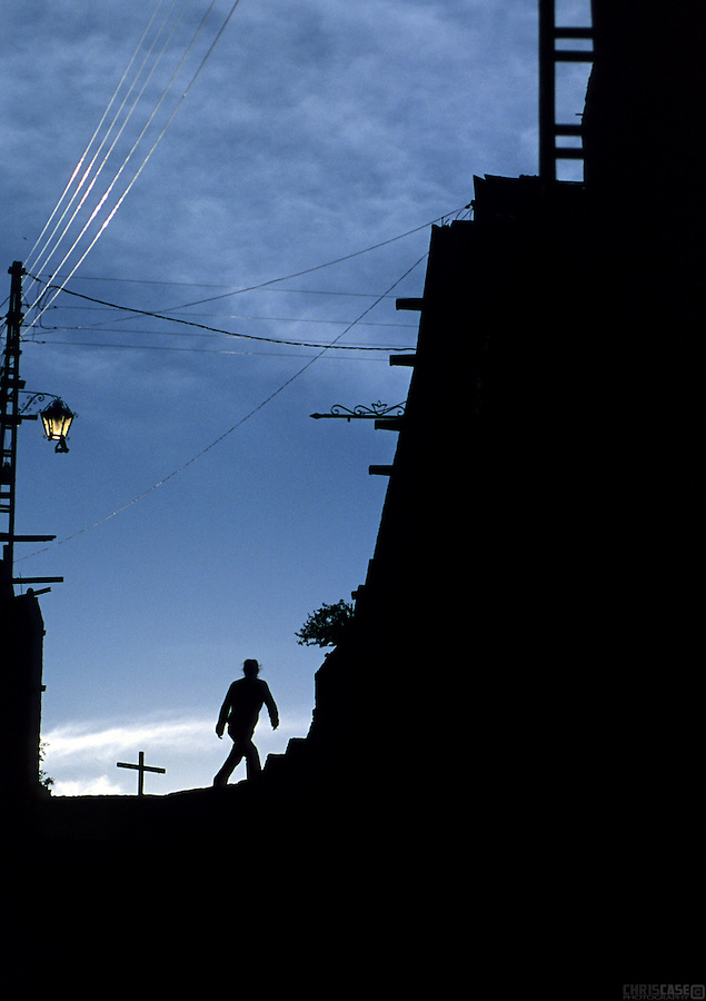 Walking in silhouette, Real de Catorce, Mexico.