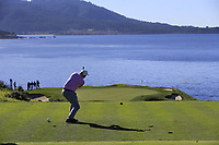 Dermot Desmond (IRL) tees off the par3 7th tee at Pebble Beach course during Friday's Round 2 of the 2018 AT&amp;T Pebble Beach Pro-Am, held over 3 courses Pebble Beach, Spyglass Hill and Monterey, California, USA. 9th February 2018.<br /> Picture: Eoin Clarke | Golffile<br /> <br /> <br /> All photos usage must carry mandatory copyright credit (&copy; Golffile | Eoin Clarke)