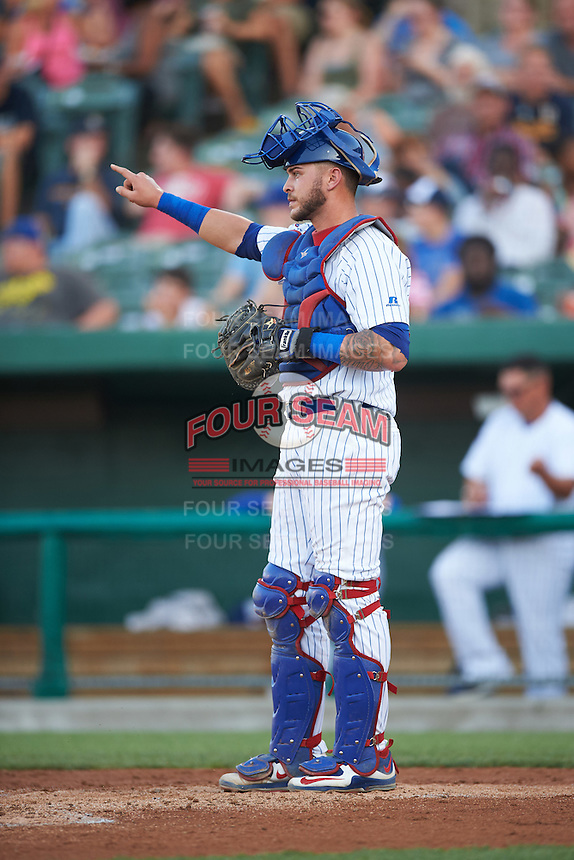 South Bend Cubs catcher Tyler Alamo (22) during a game against the Burlington Bees on July 22, 2016 at Four Winds Field in South Bend, Indiana.  South Bend defeated Burlington 4-3.  (Mike Janes/Four Seam Images)