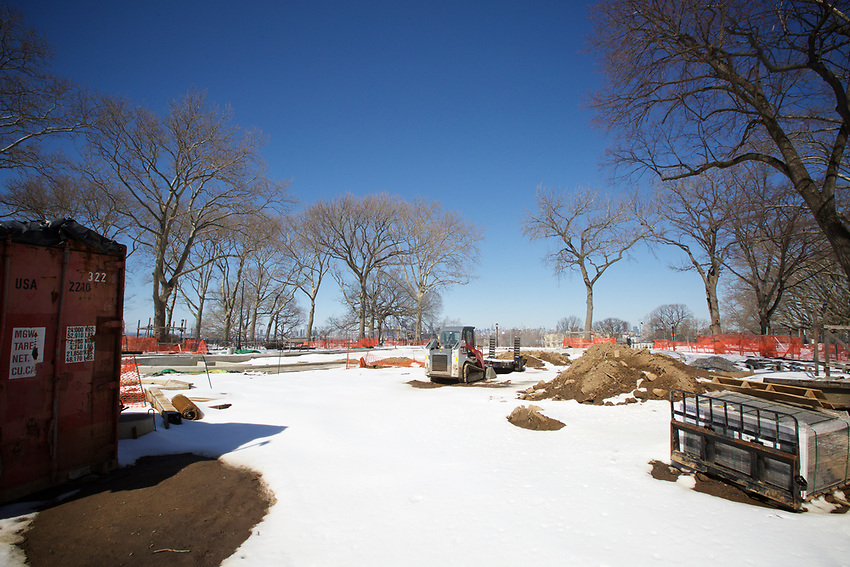 BROOKLYN, NY - March 19, 2017: Redevelopment of the community playground as the last remnants of Winter Storm Stella melt in Sunset Park.<br /> <br /> Credit: Clay Williams.<br /> <br /> &copy; Clay Williams / http://claywilliamsphoto.com