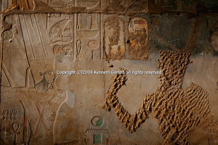 Hatshepssut, Egypt,  Karnak Temple, Red Chapel, Hatahepsut and Thutmisis III, Hatshepsut temple with erased images