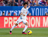 FRISCO, TX - MARCH 11: Moeka Minami #5 of Japan dribbles during a game between Japan and USWNT at Toyota Stadium on March 11, 2020 in Frisco, Texas.