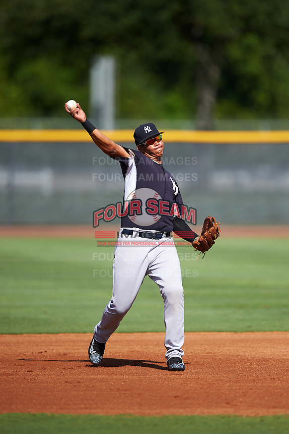 GCL Yankees West third baseman Nelson Gomez (25) throws to first during a game against the GCL Yankees East on August 3, 2016 at the Yankees Complex in Tampa, Florida.  GCL Yankees East defeated GCL Yankees West 12-2.  (Mike Janes/Four Seam Images)