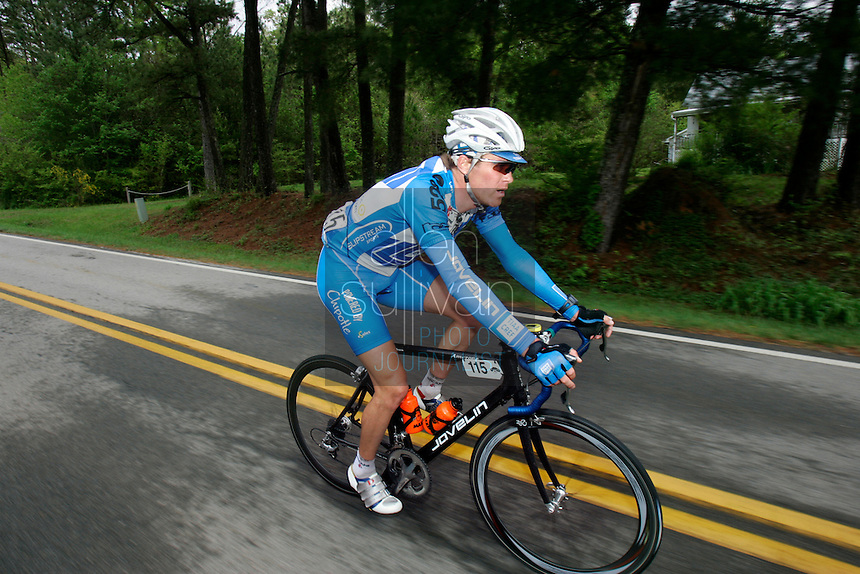 Will Frischkorn, of Team TIAA-CREF, rides during Stage 5 of the Ford Tour de Georgia. Tom Danielson, of the Discovery Channel Pro Cycling Team, won the 94.5-mile (152.1-km) stage from Blairsville to the top of Brasstown Bald, the highest point in the state.<br />