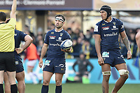 11th January 2020, Parc des Sports Marcel Michelin, Clermont-Ferrand, Auvergne-Rhône-Alpes, France; European Champions Cup Rugby Union, ASM Clermont versus Ulster;  Morgan Parra (asm) and Sebastien Vahhamahina watch the referees signal