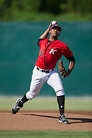Kannapolis Intimidators starting pitcher Yosmer Solarzano (18) in action against the Delmarva Shorebirds at Kannapolis Intimidators Stadium on July 2, 2017 in Kannapolis, North Carolina.  The Shorebirds defeated the Intimidators 5-4.  (Brian Westerholt/Four Seam Images)
