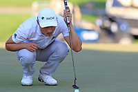 Haotong Li (CHN) on the 17th green during Sunday's Final Round of the 2018 Turkish Airlines Open hosted by Regnum Carya Golf &amp; Spa Resort, Antalya, Turkey. 4th November 2018.<br /> Picture: Eoin Clarke | Golffile<br /> <br /> <br /> All photos usage must carry mandatory copyright credit (&copy; Golffile | Eoin Clarke)