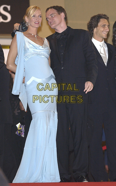 UMA THURMAN & QUENTIN TARANTINO.Kill Bill 2 party at the Kabarets Prophecy Club, .Cannes Film festival, France, 16th May 2004..full length long blue and silver beaded dress whispering in ear.Ref: PL.www.capitalpictures.com.sales@capitalpictures.com.©Capital Pictures