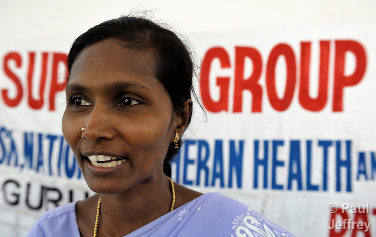 Pramila participates in a support group for HIV positive people at the Gurukul  Lutheran Theological College in Chennai, India. (Note restriction on use in Special Instructions below.)