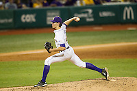 LSU Tigers pitcher Parker Bugg (46) delivers a pitch to the plate during a Southeastern Conference baseball game against the Texas A&M Aggies on April 23, 2015 at Alex Box Stadium in Baton Rouge, Louisiana. LSU defeated Texas A&M 4-3. (Andrew Woolley/Four Seam Images)
